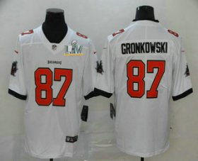 Wholesale Cheap Men\'s Tampa Bay Buccaneers #87 Rob Gronkowski White 2021 Super Bowl LV Stitched Vapor Untouchable Stitched Nike Limited NFL Jersey