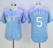 Wholesale Cheap Royals #5 George Brett Light Blue Flexbase Authentic Collection Stitched MLB Jersey