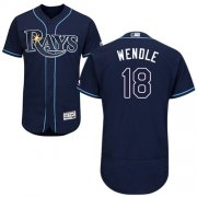 Wholesale Cheap Rays #18 Joey Wendle Dark Blue Flexbase Authentic Collection Stitched MLB Jersey