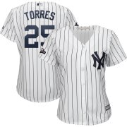 Wholesale Cheap New York Yankees #25 Gleyber Torres Majestic Women's 2019 Postseason Official Cool Base Player Jersey White Navy