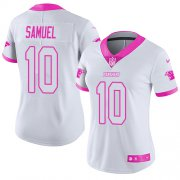Wholesale Cheap Nike Panthers #10 Curtis Samuel White/Pink Women's Stitched NFL Limited Rush Fashion Jersey