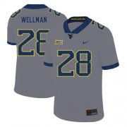 Wholesale Cheap West Virginia Mountaineers 28 Elijah Wellman Gray College Football Jersey