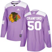 Wholesale Cheap Adidas Blackhawks #50 Corey Crawford Purple Authentic Fights Cancer Stitched Youth NHL Jersey