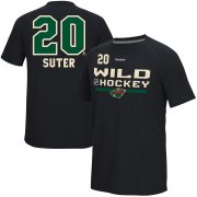 Wholesale Cheap Minnesota Wild #20 Ryan Suter Reebok Center Ice Freeze Supremium Name & Number T-Shirt Black