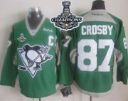 Wholesale Cheap Penguins #87 Sidney Crosby Green Practice 2017 Stanley Cup Finals Champions Stitched NHL Jersey