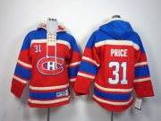 Wholesale Canadiens #31 Carey Price Red Sawyer Hooded Sweatshirt Stitched Youth NHL Jersey