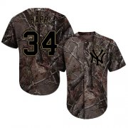 Wholesale Cheap Yankees #34 J.A. Happ Camo Realtree Collection Cool Base Stitched Youth MLB Jersey