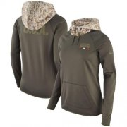Wholesale Cheap Women's Cleveland Browns Nike Olive Salute to Service Performance Pullover Hoodie