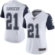 Wholesale Cheap Nike Cowboys #21 Deion Sanders White Women's Stitched NFL Limited Rush Jersey