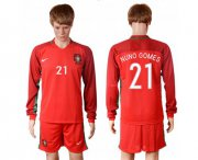 Wholesale Cheap Portugal #21 Nuno Gomes Home Long Sleeves Soccer Country Jersey
