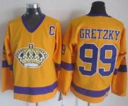 Wholesale Kings #99 Wayne Gretzky Yellow CCM Throwback Stitched NHL Jersey