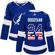 Cheap Adidas Lightning #24 Zach Bogosian Blue Home Authentic USA Flag Women's Stitched NHL Jersey