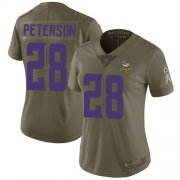 Wholesale Cheap Nike Vikings #28 Adrian Peterson Olive Women's Stitched NFL Limited 2017 Salute to Service Jersey