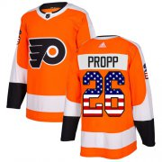 Wholesale Cheap Adidas Flyers #26 Brian Propp Orange Home Authentic USA Flag Stitched NHL Jersey