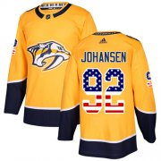 Wholesale Cheap Adidas Predators #92 Ryan Johansen Yellow Home Authentic USA Flag Stitched Youth NHL Jersey
