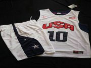 Wholesale Cheap 2012 Olympics Team USA 10 Kobe Bryant White Basketball Suit