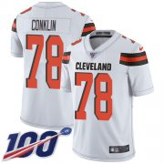 Wholesale Cheap Nike Browns #78 Jack Conklin White Youth Stitched NFL 100th Season Vapor Untouchable Limited Jersey