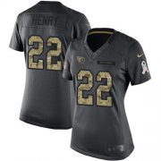 Wholesale Cheap Nike Titans #22 Derrick Henry Black Women's Stitched NFL Limited 2016 Salute to Service Jersey