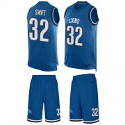Wholesale Cheap Nike Lions #32 D'Andre Swift Blue Team Color Men's Stitched NFL Limited Tank Top Suit Jersey