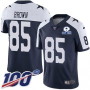 Wholesale Cheap Nike Cowboys #85 Noah Brown Navy Blue Thanksgiving Men's Stitched With Established In 1960 Patch NFL 100th Season Vapor Untouchable Limited Throwback Jersey