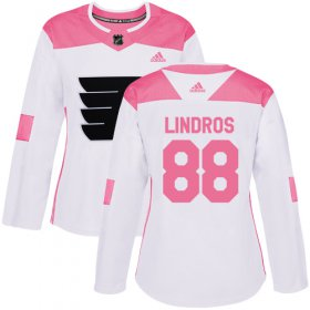 Wholesale Cheap Adidas Flyers #88 Eric Lindros White/Pink Authentic Fashion Women\'s Stitched NHL Jersey
