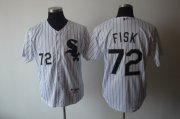 Wholesale White Sox #72 Carlton Fisk Stitched White Baseball Jersey