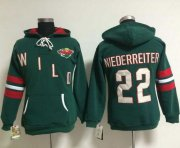 Wholesale Cheap Minnesota Wild #22 Nino Niederreiter Green Women's Old Time Heidi NHL Hoodie