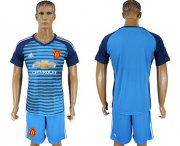 Wholesale Cheap Manchester United Blank Blue Soccer Club Jersey
