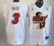 Wholesale Cheap Miami Heat #3 Dwyane Wade 2012 NBA Finals Champions White With Red Jersey