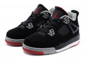 Wholesale Cheap Air Jordan 4 (IV) Kids Shoes Black/gray-red
