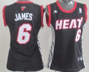 Wholesale Cheap Miami Heat #6 LeBron James Black Womens Jersey
