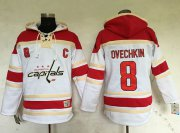 Wholesale Cheap Capitals #8 Alex Ovechkin White Sawyer Hooded Sweatshirt Stitched NHL Jersey