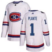 Wholesale Cheap Adidas Canadiens #1 Jacques Plante White Authentic 2017 100 Classic Stitched NHL Jersey