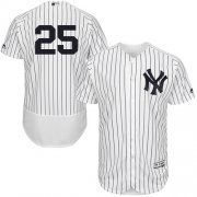 Wholesale Cheap Yankees #25 Gleyber Torres White Strip Flexbase Authentic Collection Stitched MLB Jersey
