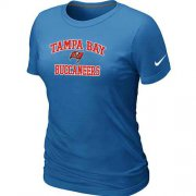 Wholesale Cheap Women's Nike Tampa Bay Buccaneers Heart & Soul NFL T-Shirt Light Blue