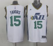Wholesale Cheap Utah Jazz #15 Derrick Favors Revolution 30 Swingman 2014 New White Swingman Jersey