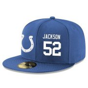 Wholesale Cheap Indianapolis Colts #52 D'Qwell Jackson Snapback Cap NFL Player Royal Blue with White Number Stitched Hat