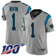 Wholesale Cheap Nike Panthers #1 Cam Newton Silver Youth Stitched NFL Limited Inverted Legend 100th Season Jersey
