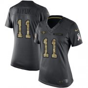 Wholesale Cheap Nike 49ers #11 Brandon Aiyuk Black Women's Stitched NFL Limited 2016 Salute to Service Jersey