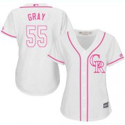 Wholesale Cheap Rockies #55 Jon Gray White/Pink Fashion Women's Stitched MLB Jersey