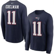 Wholesale Cheap New England Patriots #11 Julian Edelman Nike Player Name & Number Long Sleeve T-Shirt Navy