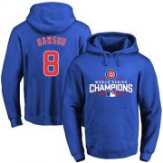 Wholesale Cheap Cubs #8 Andre Dawson Blue 2016 World Series Champions Pullover MLB Hoodie