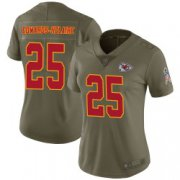 Wholesale Cheap Women's Nike Kansas City Chiefs #25 Clyde Edwards-Helaire Limited Green 2017 Salute to Service Jersey