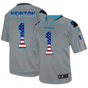 Wholesale Nike Panthers #1 Cam Newton Lights Out Grey Men\'s Stitched NFL Elite USA Flag Fashion Jersey