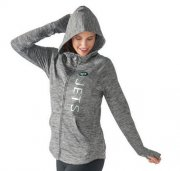 Wholesale Cheap Women's NFL New York Jets G-III 4Her by Carl Banks Recovery Full-Zip Hoodie Heathered Gray
