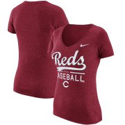 Wholesale Cheap Cincinnati Reds Nike Women's Practice 1.7 Tri-Blend V-Neck T-Shirt Heathered Red
