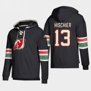 Wholesale Cheap New Jersey Devils #13 Nico Hischier Black adidas Lace-Up Pullover Hoodie