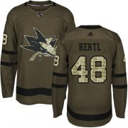 Wholesale Cheap Adidas Sharks #48 Tomas Hertl Green Salute to Service Stitched Youth NHL Jersey