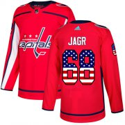 Wholesale Cheap Adidas Capitals #68 Jaromir Jagr Red Home Authentic USA Flag Stitched NHL Jersey