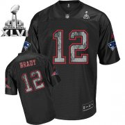 Wholesale Cheap Sideline Black United Patriots #12 Tom Brady Black Super Bowl XLVI Embroidered NFL Jersey